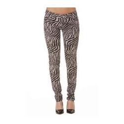 Pantalon Jeans Gris motifs noir Zébrés