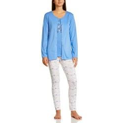 Pyjama 3 pièces avec veste boutonnée - Bleu