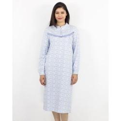 Chemise de nuit avec col et boutons 100% Coton -Bleu