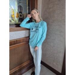 Ensemble pyjama femme couleur pêche brodé sleepy