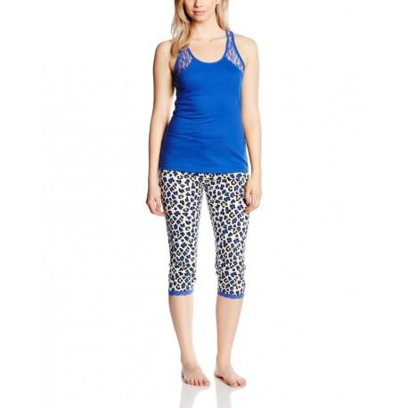 Pyjama corsaire et haut uni avec dentelle - Bleu